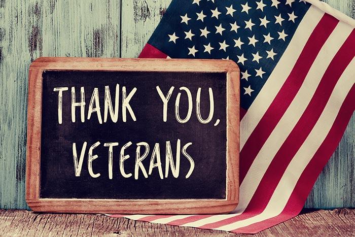 Thank you, Veterans sign